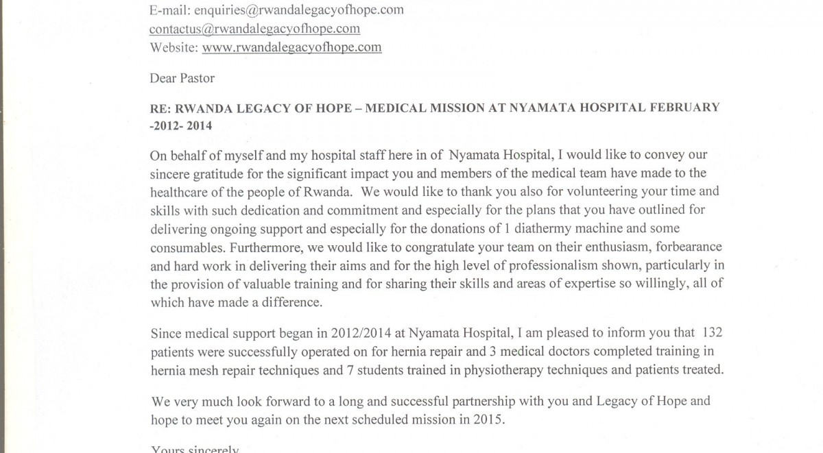 legacy of hope nyamata hospital report