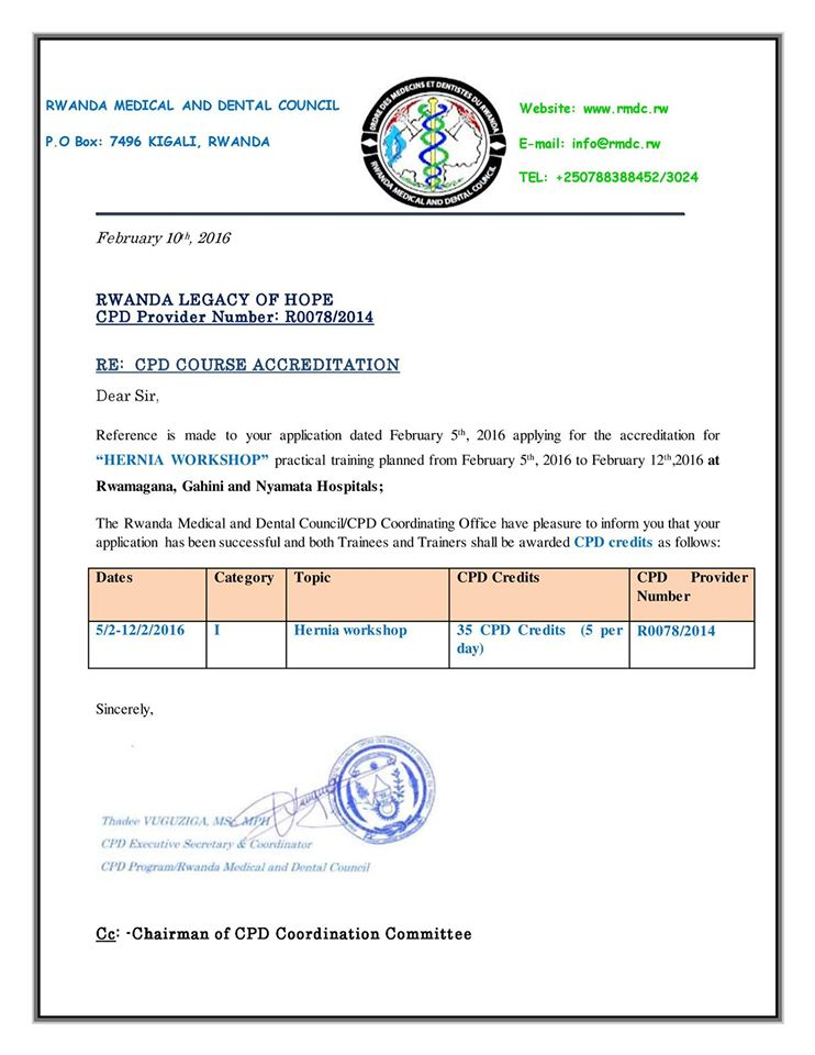 Hernia Operation CPD accreditation awarded by the Rwanda Legacy of Hope medical trainers.