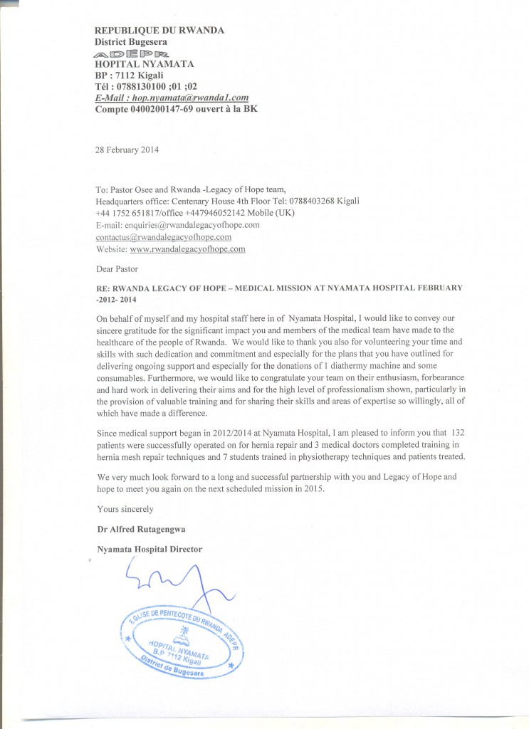 legacy of hope nyamata hospital report